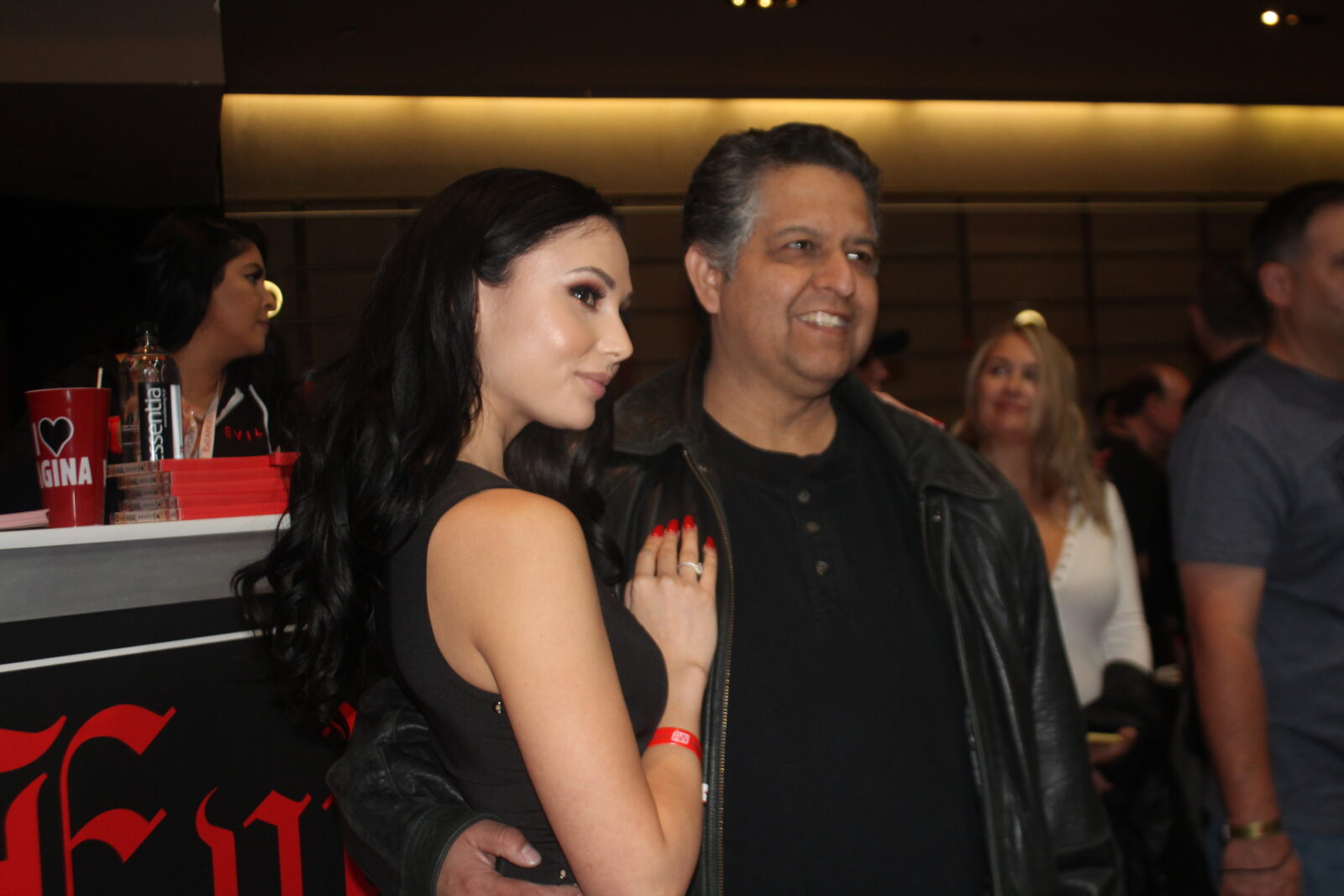 Ariana Marie with fan at the Evil Angel 30th anniversary at the AVN Expo 2019 in Las Vegas, NV.