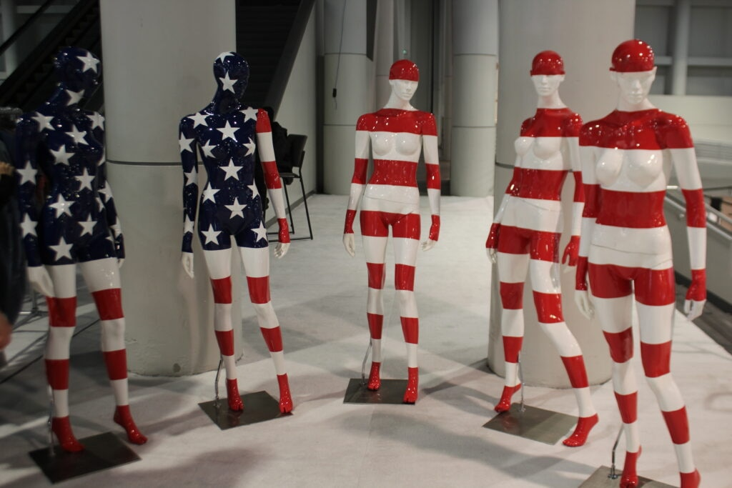 American Art statues on the first floor of the convention in Las Vegas, NV. 2019