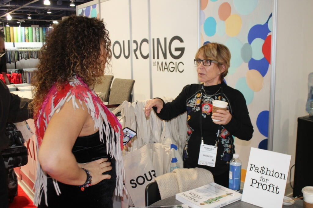 Frances Harder of Fashion for Profit and Fashion Designer based out of Los Angeles, California at the Magic fashion convention in Las Vegas, NV. 2019